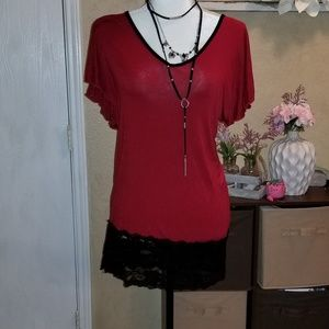 Vanity brand red stretchy top size L